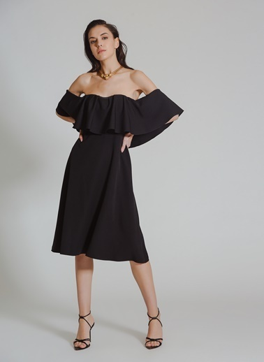 People By Fabrika Straplez Elbise Siyah